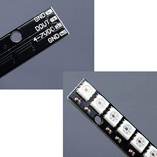 Comidox 2PCS WS2812 5050 RGB 8 LEDs Light Strip Driver Board 8 Channel Built-in Full Color-Driven Development Board Black for Arduino by Comidox (Image #5)