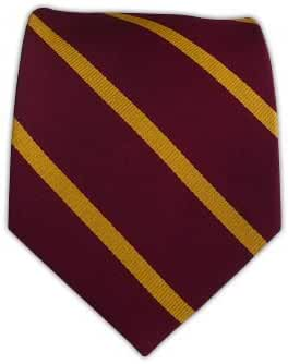 The Tie Bar 100% Woven Silk Burgundy and Gold Striped Tie