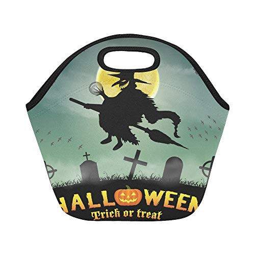 Insulated Neoprene Lunch Bag Halloween Silhouette Flying Witch Night Graveyard Large Size Reusable Thermal Thick Lunch Tote Bags For Lunch Boxes For Outdoors,work, Office, School