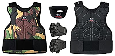 Maddog Sports Padded Chest Protector, Tactical Half Glove, & Neck Protector Combo Package