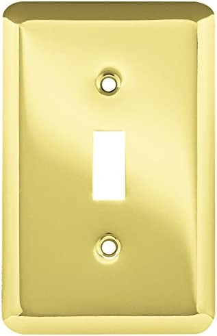 Style Selections Stamped Round 1 Gang Polished Brass Single Toggle Wall Plate Amazon Com