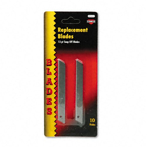 Quickpoint Snap Off Straight Handle (COSCO : QuickPoint Snap-Off Straight Handle Retractable Knife Replacement Blades, 10/Pk -:- Sold as 2 Packs of - 10 - / - Total of 20 Each)
