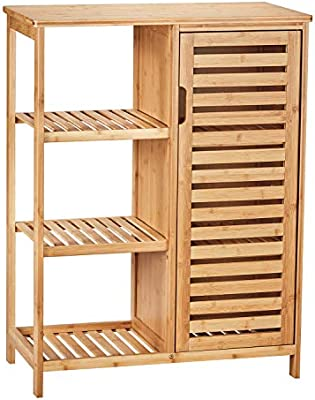 Amazon Com Viagdo Bathroom Storage Cabinets With Doors And 3 Side Shelves Bamboo Floor Cabinet Utility Storage Shelves For Living Room Bedroom Hallway Kitchen Free Standing Storage Cabinet Furniture Kitchen Dining