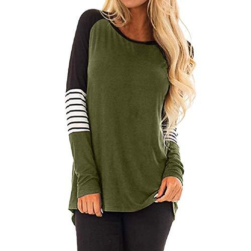 AOJIAN Blouse Women Long Sleeve T Shirt Stripe O Neck Tunics Tees Tank Shirts Tops