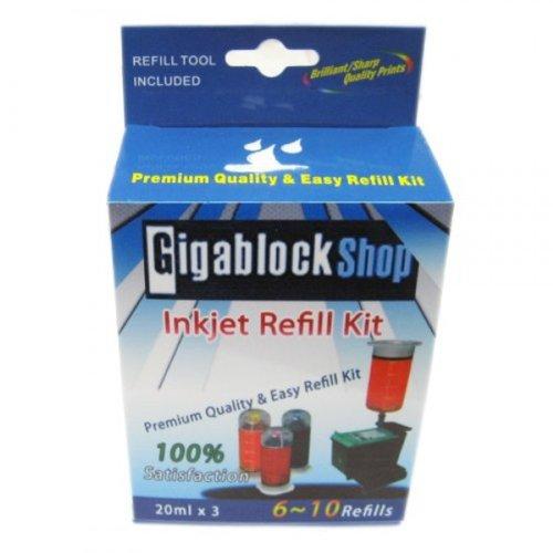 Gigablock Non OEM 3 colors (Photo Black, Light Magenta, Light Cyan) Inkjet Cartridge Refill kit for HP 99/ 348/ 138/ 858 Samsung P110 with UV Dye Ink