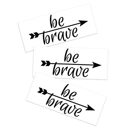 Tattoo Moments Inspiring Quote Temporary Tattoo - Be Brave Arrow Forward (Set of 3 Motivating Tattoos) - Uplifting, Fashionable, Skin Safe and Waterproof - Perfect for Arm, Chest, Back or Legs