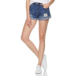 Lily Parker Women's Destroy Ripped Mid Rise Denim Shorts