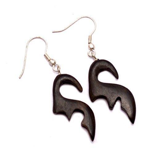 A Pair of Black Coco Wood Wooden Boho Hippie Danglers Earrings Sew_334