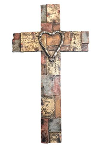 Polly House 18 Inch Bible Verses on Stone Bricks with Heart Wall Cross Wall Decor Wall Art - Cross Heart Wall