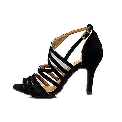 Latino Negro Principiante De Tacón Interior Sandalia Hebilla Mujer Salsa Entrenamiento Profesional Stiletto Aterciopelado Black Baile Zapatillas 6wnzEd