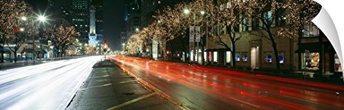 Canvas On Demand Wall Peel Wall Art Print entitled Blurred Motion Of Cars Along Michigan Avenue Illuminated With Christmas Lights, Chicago, Illinois - Michigan Shopping Chicago Avenue
