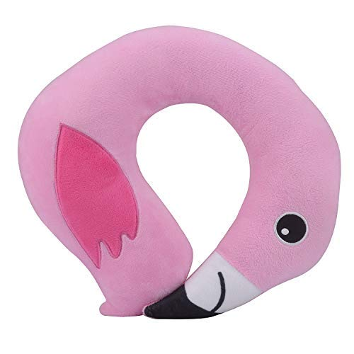 Pink Baby Flamingo Travel Neck Pillow Cushion by Micaddy | Support The Head, Neck and Chin in for Airplanes Trips or Gifts | U-Shaped Soft Pillows Sized for Toddler, Children -