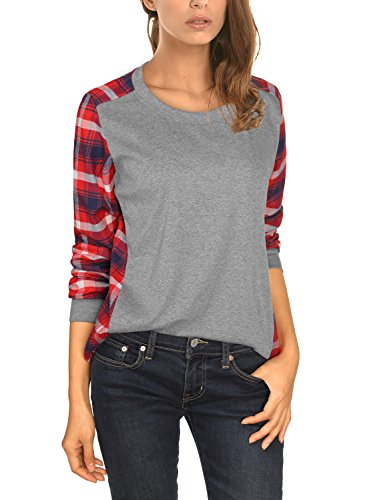 DJT Womens Plaid Checked Contrast Casual Slim T-shirt Pullover Medium #T40 Red (T-shirts Jumpers)