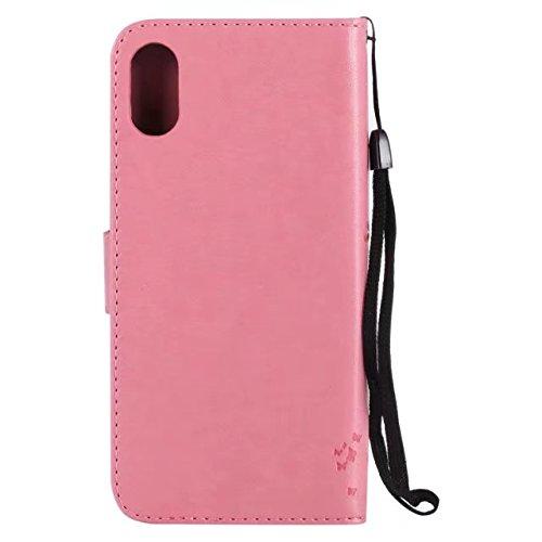 JIALUN-carcasa de telefono Retro estilo gato y árbol en relieve patrón falso piel cubierta de la caja con ranuras para tarjetas y cordón para el iPhone X ( Color : Gold ) Pink