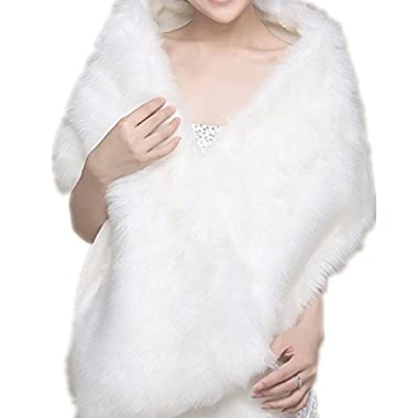 EQLEF® White Faux Fur Wrap Shawl Shrug Bolero Cape Lady Gift with Satin Bowknot, Bridal Ivory Faux Fur Jacket coat shawls stole (Universal)