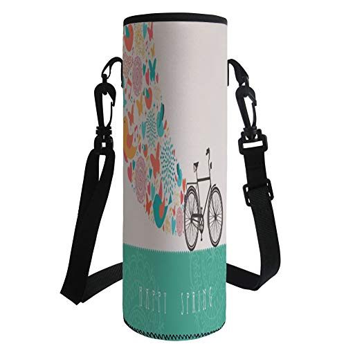Water Bottle Sleeve Neoprene Bottle Cover,Bicycle,Happy Spring Themed Bike Concept with Blossomed Bird and Butterflies Fresh Print,Teal Grey,Fit for Most of Water Bottles by iPrint