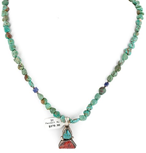 $470Tag Silver Certified Navajo Natural Turquoise Spiny Lapis Native American Necklace 14492-28-15781