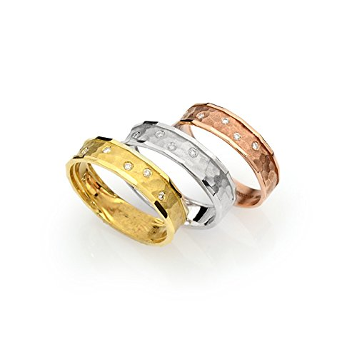 - 14k tri color gold hammered gold wedding band with diamonds