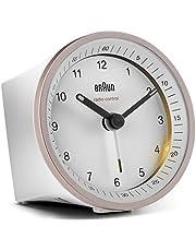 Klassisk analog trådlös väckarklocka från Braun för den melleruropeiska tidszonen (MEZ/GMT+1) med snooze-funktion och belysning, tyst rörelse, Crescendo-larm i vitt och ros, modell BC07PW-DCF