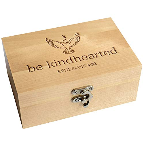 West End Warehouse Wooden Keepsake Box, Memory Box, Trinket Storage Box with Lid, Be Kindhearted Design, 4 x 6 x 2.5 inches