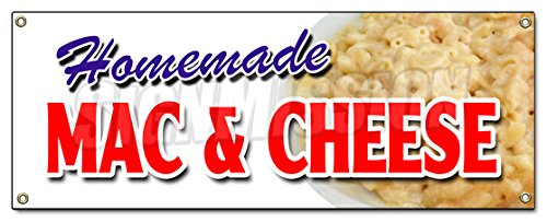 HOMEMADE MAC & CHEESE BANNER SIGN take carry out food macaroni eat best (Vision Cheese)