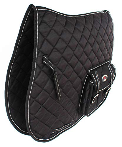 CHALLENGER Horse Quilted Aussie Australian English Saddle PAD Dressage 2 Pockets Black 7269