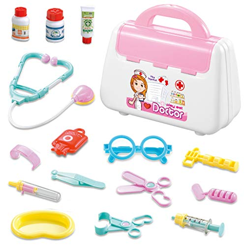 (AMOFINY Baby Toys Doctor Child Medical Box Doctor Play House Set Toy Doctor Pretend Medical Set Case Educational Role Play Toy Gift for Kid)