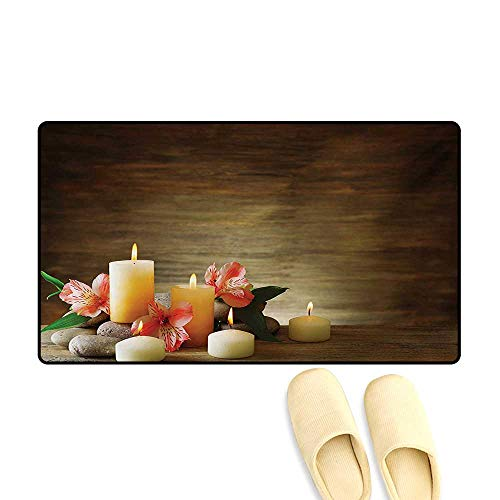 (Bath Mat,Spa Composition with Many Candles Wellbeing Unity Neutrality Icons Calm Happiness Theme,Door Mats Area Rug,Multicolor,16