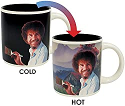 """Do something every day that will make you happy. This mug is for loyal fans of Bob Ross. """"Play. Have fun."""" When the mug is cold, the image of Bob Ross reminds you to be calm and find time in your life to create. When you pour in a hot beverage, a Bob..."""