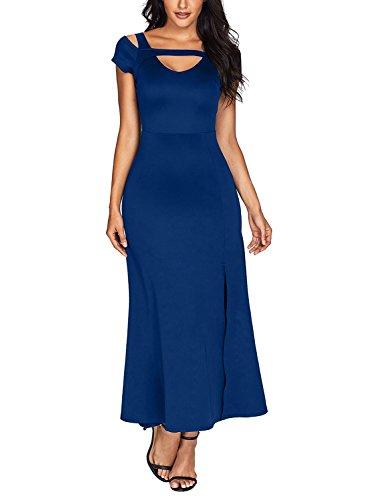 Womens Evening Wear (Acelitt Womens V-Neck Cold Shoulder Front Slit Flare Maxi Evening Dress Blue Medium)