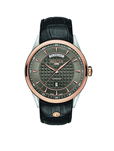 Roamer-Felltrimmer Superior Tag Datum Herren Armbanduhr mit grauem Zifferblatt Analog-Anzeige und schwarz Lederband 508293490505