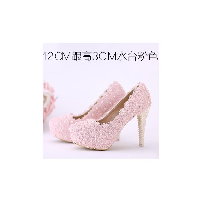 Vivioo Prom Sandals Wedding Shoes white Flowers Lace Waterproof High-heeled pearl Red Shoes Pink Color Bridal Round Toe Women's Shoes 12cm Heel Pink 7