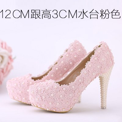 Pink Bridal Color White Toe 8 Shoes Wedding Shoes High Prom Sandals Pink Red VIVIOO Heeled Round Flowers Shoes Lace 12Cm Women's Pearl Waterproof Heel F6qOxIw