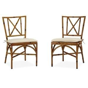 Bimini Jim Dining Chair Pair with Cushion, Natural Bamboo
