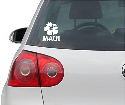 INDIGOS UG Sticker/Decal - JDM - Die cut - Hibiscus Decal Maui Flower Car Window Laptop Sticker - white - 88mm x99mm (Furniture Maui Office)
