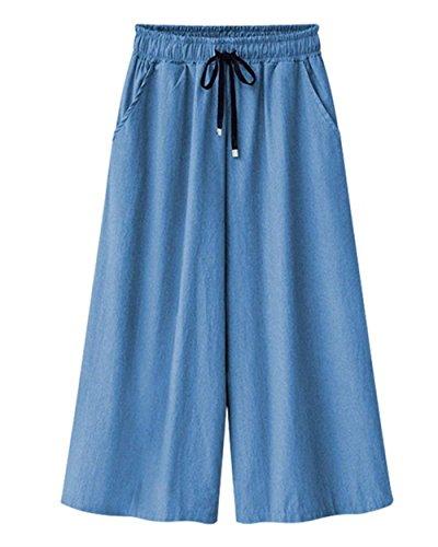 BoBoLily Mujer Pantalones Baggy Cintura Alta Anchas con Cordón Vaqueros Elegantes Pantalon Anchos Color Sólido Hippie Talla Grande Fashion Especial Estilo Pantalones Verano Pantalones De Tiempo Libre Hellblau