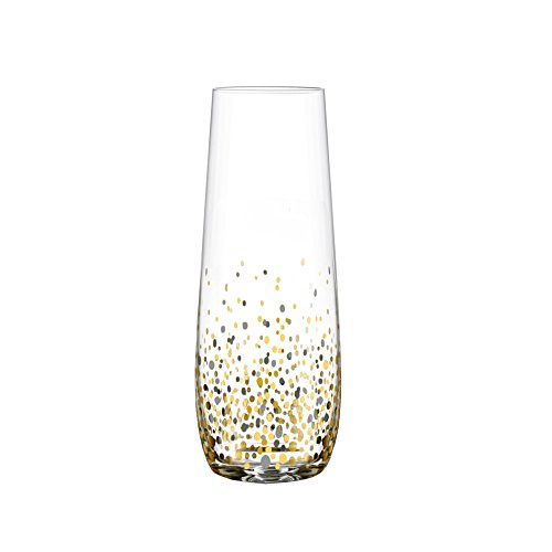 Fitz and Floyd Confetti Stemless Flutes (Set of 4), Black/Gold (Stemless Flutes Champagne)