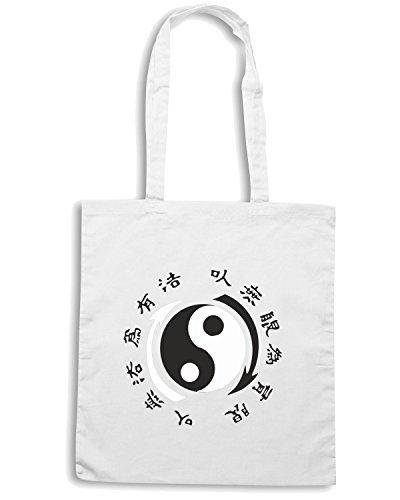T-Shirtshock - Bolsa para la compra TAM0062 japanese kanjis dark tshirt Blanco