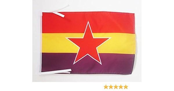 AZ FLAG Bandera de ESPAÑA Republica Popular 45x30cm - BANDERINA ESPAÑOLA Republicana 30 x 45 cm cordeles: Amazon.es: Hogar