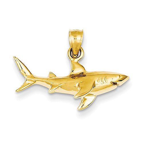 - 14K Gold Shark Pendant