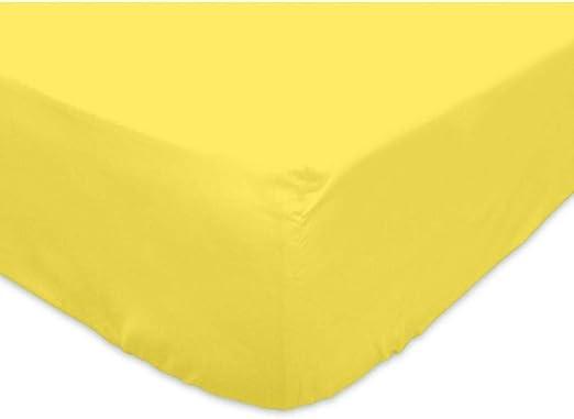 Soleil docre Sábana Bajera Jersey de algodón 90x190 cm Amarilla ...