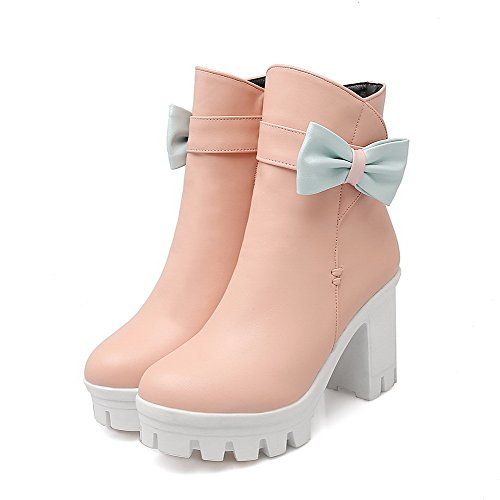 Heels Boots High Women's Closed Round PU Top WeiPoot Pink Toe Solid Low A0Bxw