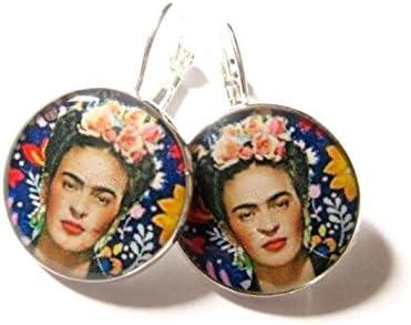 Kreolische Ohrringe Frida Kahlo Schmetterling Messing Gold 24 Karat Blume blau rosa gelb Messing Bronze personalisierte Geschenke Weihnacht zeremonie Hochzeit G/äste Muttertag Paare