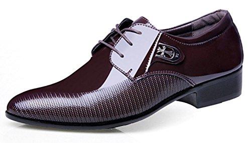 HYLM Nouveaux costumes pour hommes Chaussures en cuir style coréen dentelle affaires chaussures décontractées / chaussures de mariage chaussures de banquet dark brown QMcdry