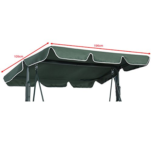 CASART 2 & 3 Seater Garden Swing Top Cover, Outdoor Patio Balcony Hammock Chair Canopy Roof Replacement (Green, 196 x…