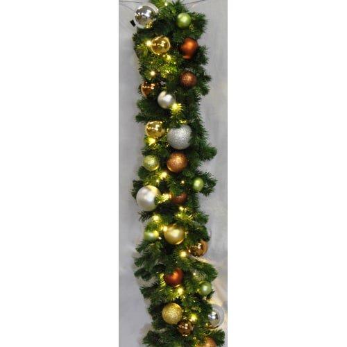 Christmas at Winterland WL-GARSQ-09-WOOD-LWW 9 Foot Pre-Lit Warm White LED Sequo, Warm White