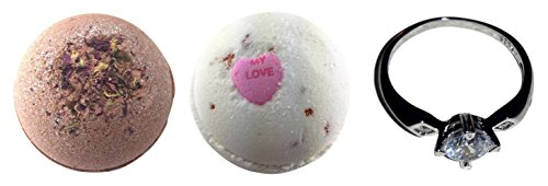 Bath Bombs with a Surprise Ring Inside - Set of 2 Ultra Lush Bath Bombs Love Romance