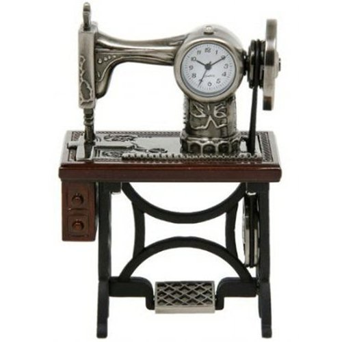 (Miniature Old Fashioned Sewing Machine on Table Novelty Desktop Collectors Clock)