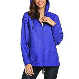 Lightweight Waterproof Raincoat For Women Packable Outdoor Hooded Rain Jacket