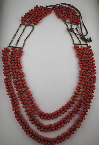 Antiqued Goldtone Coral Wood Bead Triple Strand Tiered Necklace 38 Inches Long